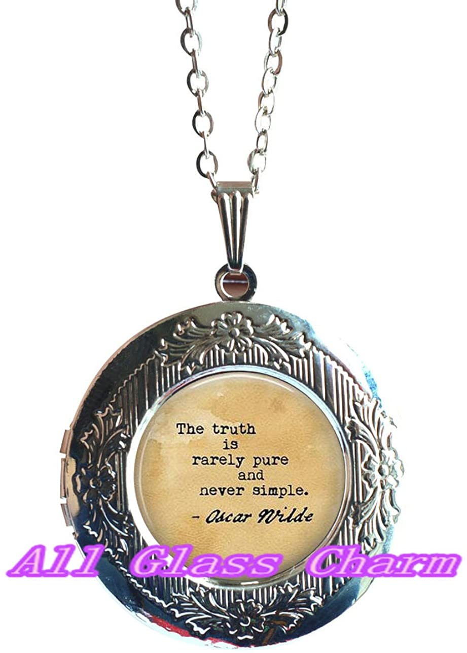 AllGlassCharm Beautiful Locket Necklace,Quote The Truth is Rarely Pure and Never Simple - Book Lover - The Importance of Being Earnest Quote,AS0150