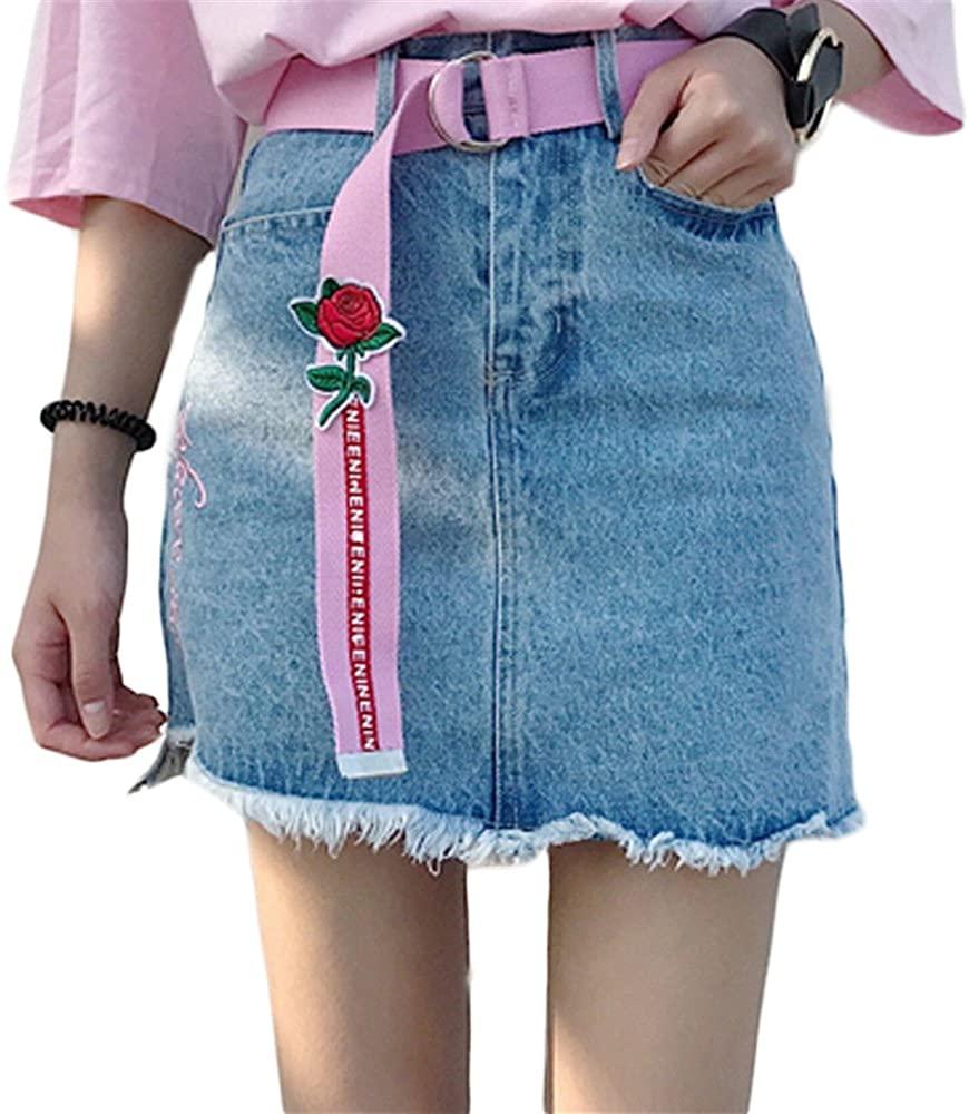 Real shot NEW Han Fan high waist irregular embroidery burr cowboy half skirt