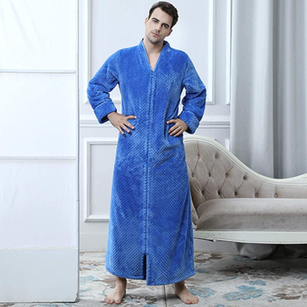 llwannr Bathrobe Robe Nightgown Sleep,Women Winter Extra Long Thick Warm Bath Robe Plus Size Zipper Luxury Flannel Pregnant Bathrobe Men Coral Robes,Blue Men,L