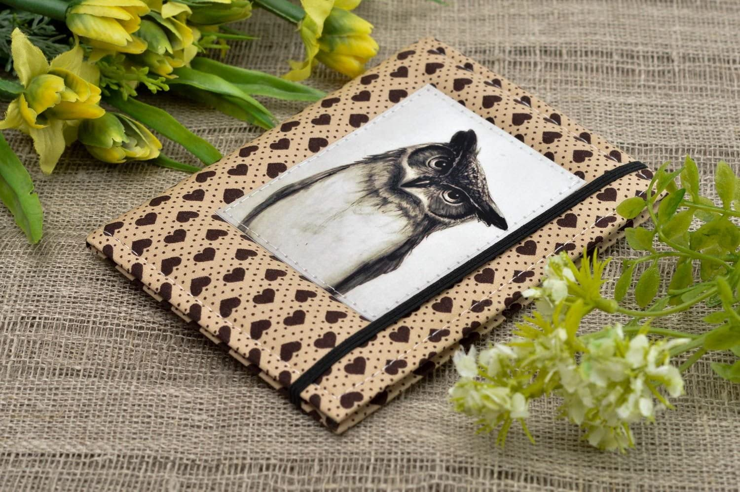 Unusual handmade fabric passport cover stylish cover for documents small gifts