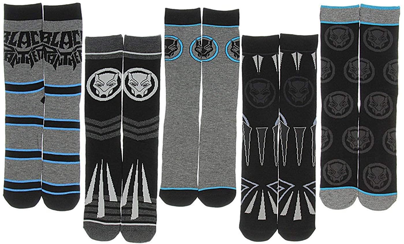Bioworld Mens Marvel Black Panther 5 Pack Crew Socks