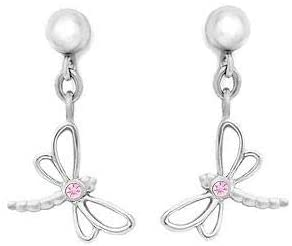 Silver Young Girls Dangling Dragonfly Earrings With Pink Sapphire
