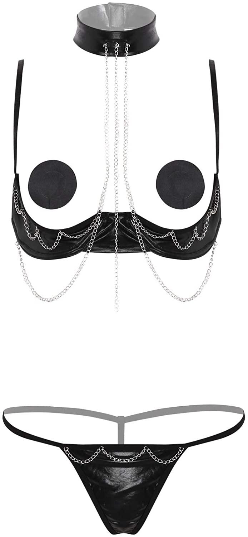 iiniim Women's Sexy Lingerie Set Underwire Shelf Bra G-String Underwear Babydoll Sleepwear