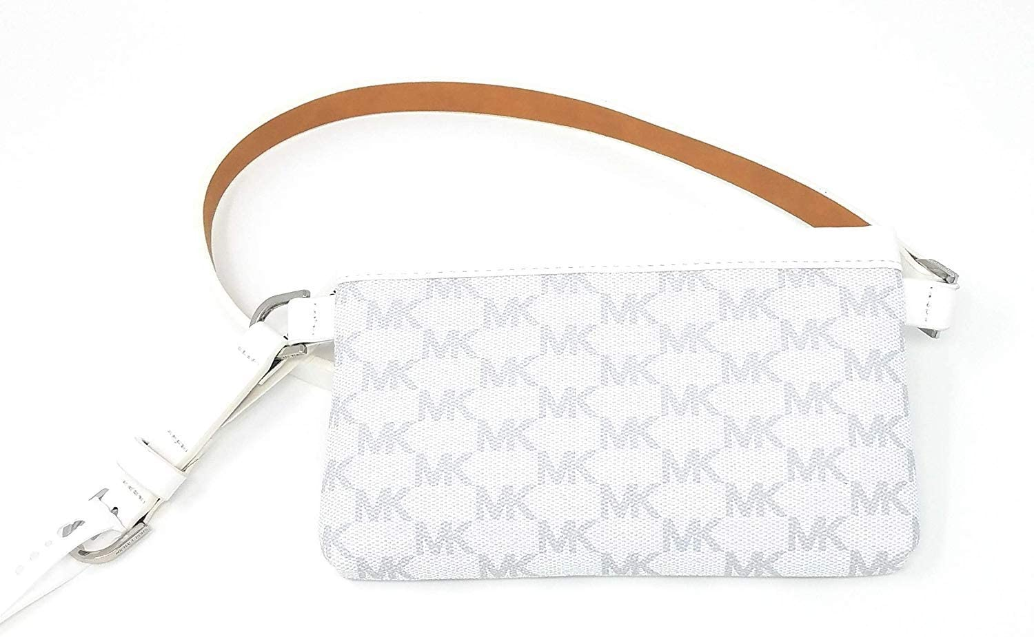 Michael Kors Leather Fanny Pack/Belt Bag, White/Grey (Medium)