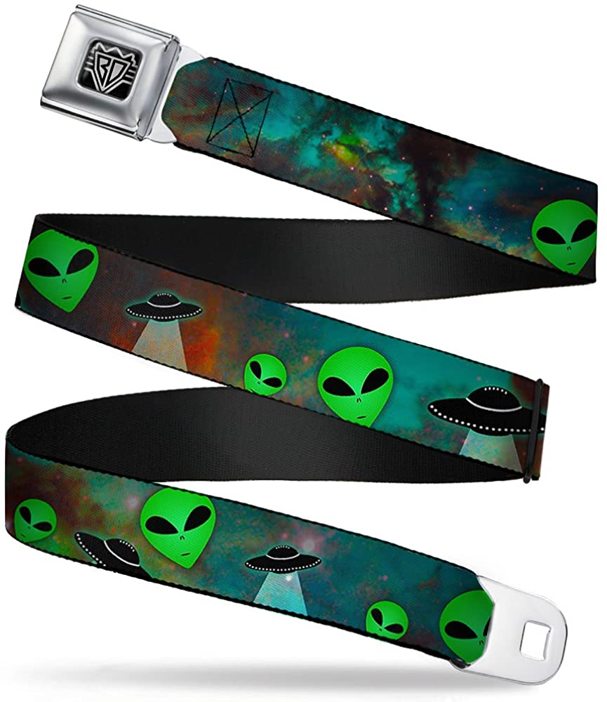 Buckle-Down Men Seatbelt Belt Alien W30163, Aliens and Ufo's Galaxy/Green/Black/White, 1.5