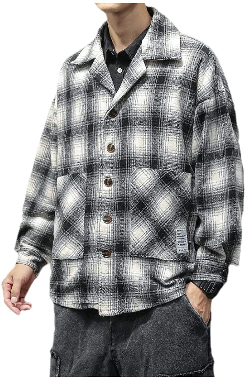 Doufine Men's Plaid Japanese Jackets Vintage Wool Blend Outerwear Shirt