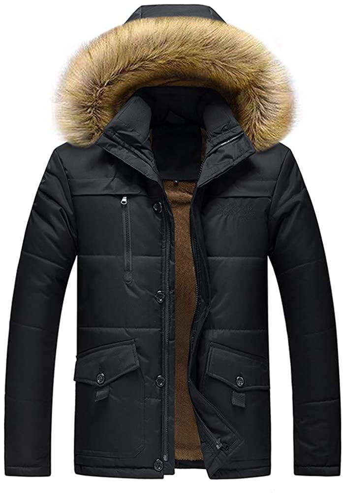 Christmas Deals! Teresamoon Mens Winter Medium Length Zipper Plus Size Thickened Hooded Cotton Outwear Coat