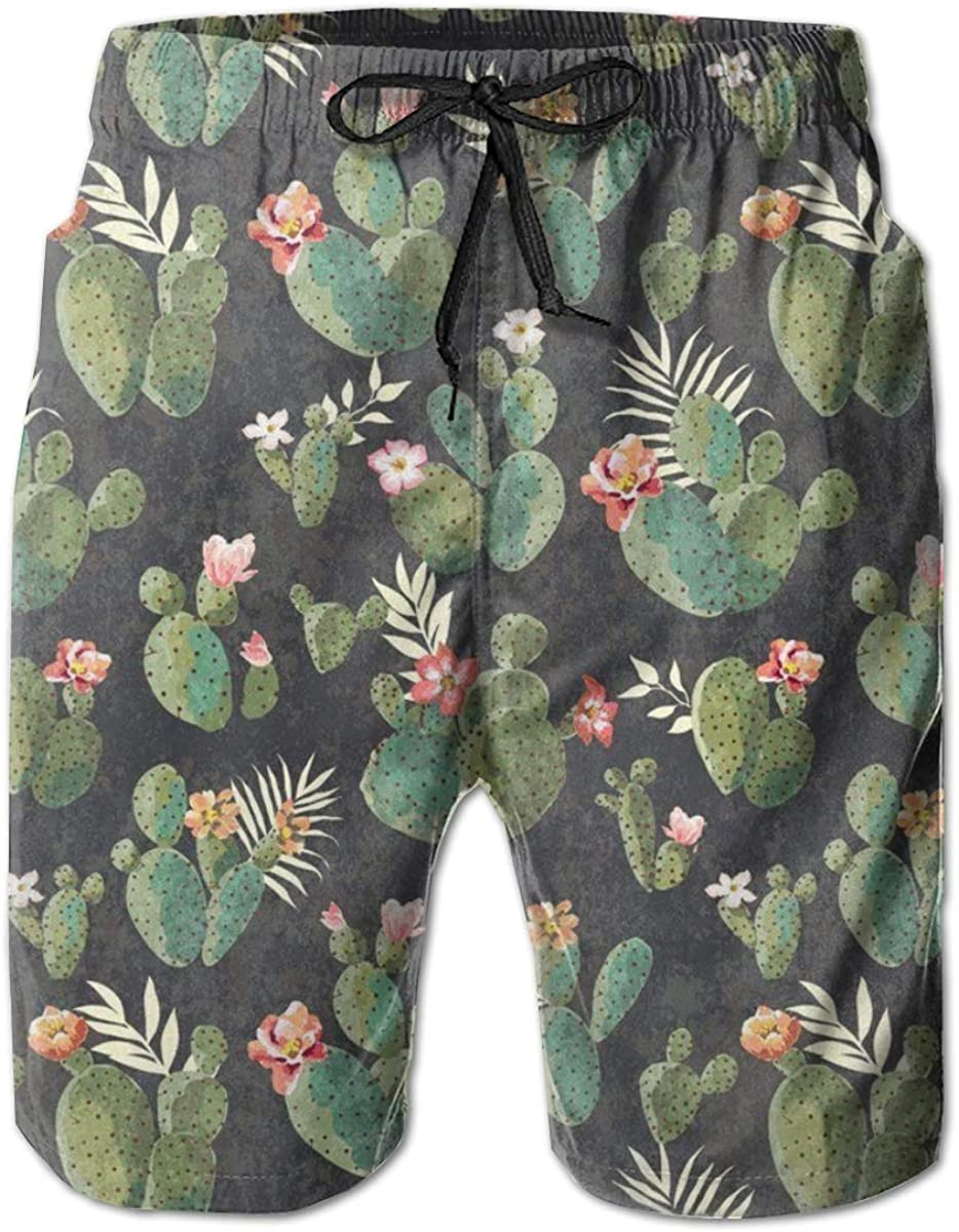 NiYoung Men's Slim Fit Quick Dry Swim Trunks Fashion 3D Printed Beach Board Shorts