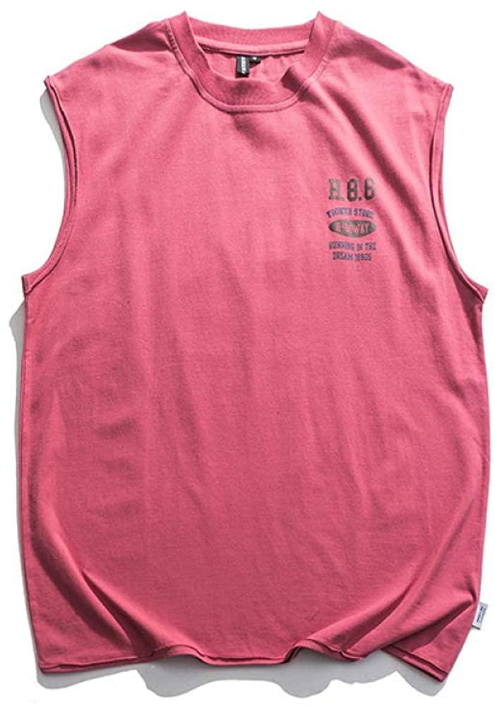 HOSD Sleeveless Short-Sleeved Men's t-Shirt Waistcoat Loose Printed Hip-hop Summer Vest Red