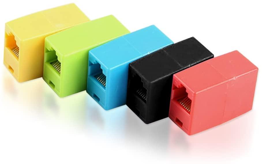 DCKR LAN Coupler RJ45 8P8C Modular Network Inline Ethernet Latch Female Coupler (5 Pack) - Red/Yellow/Green/Blue/Black
