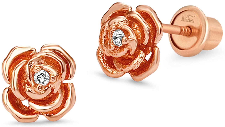 Rose Gold Tone Rose Children Screw Back Baby Girls Earrings