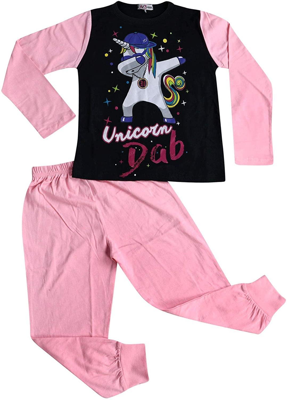 Kids Girls Pyjamas Designer Unicorn Dab Floss Lounge Wear Nightwear PJS 5-13 Yr