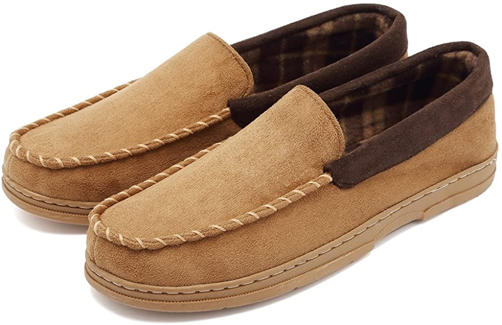 CIOR Fantiny Men's Casual Memory Foam Pile Lined Slip On Moccasin Flats Slippers Micro Suede Indoor Outdoor Rubber Sole-U1MTM011-Camel-44