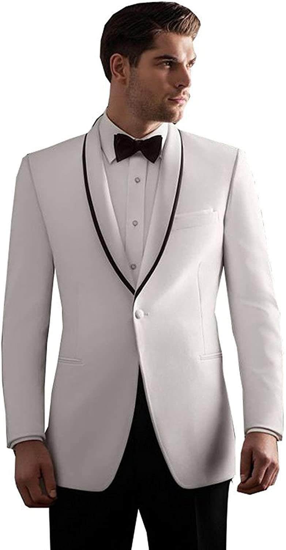 Fenghuavip Elegant White Groom Wedding Tuxedos Suits 2 Pieces