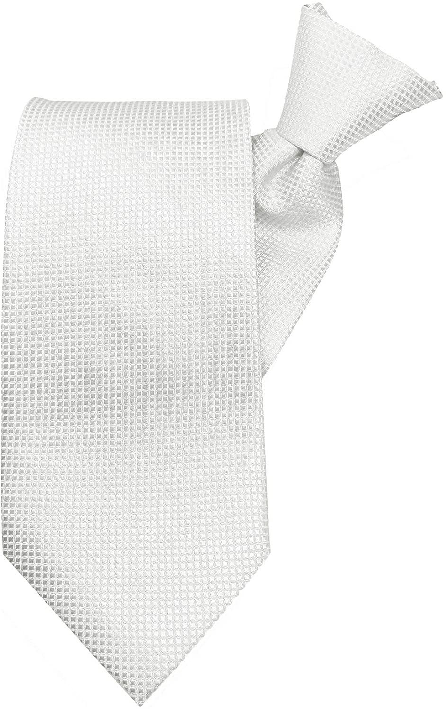Jacob Alexander Men's Woven Subtle Mini Squares Clip-On Neck Tie - Light Gray