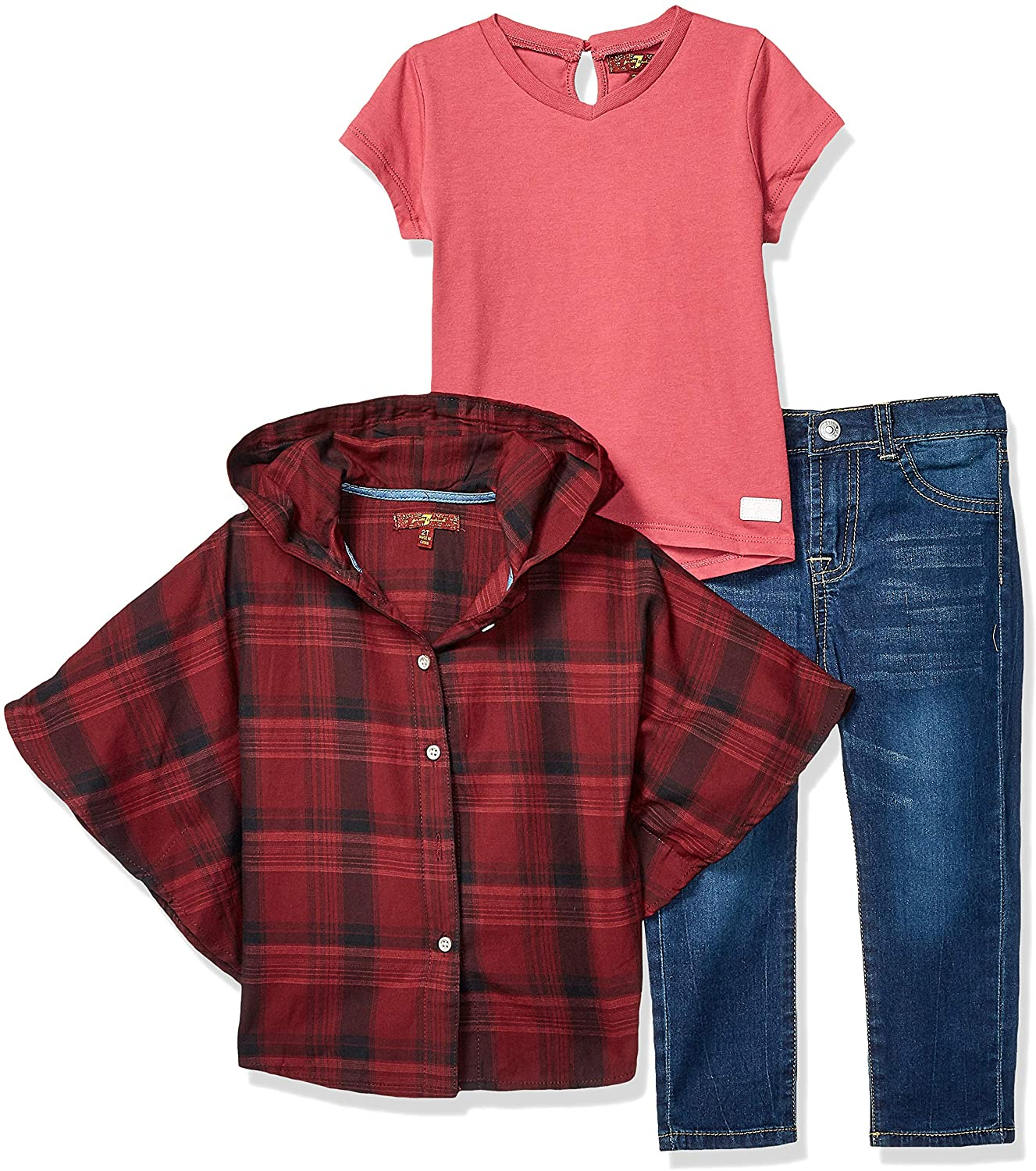 7 For All Mankind Girls' Toddler 3 Piece Poncho, T-Shirt and Jeans Set