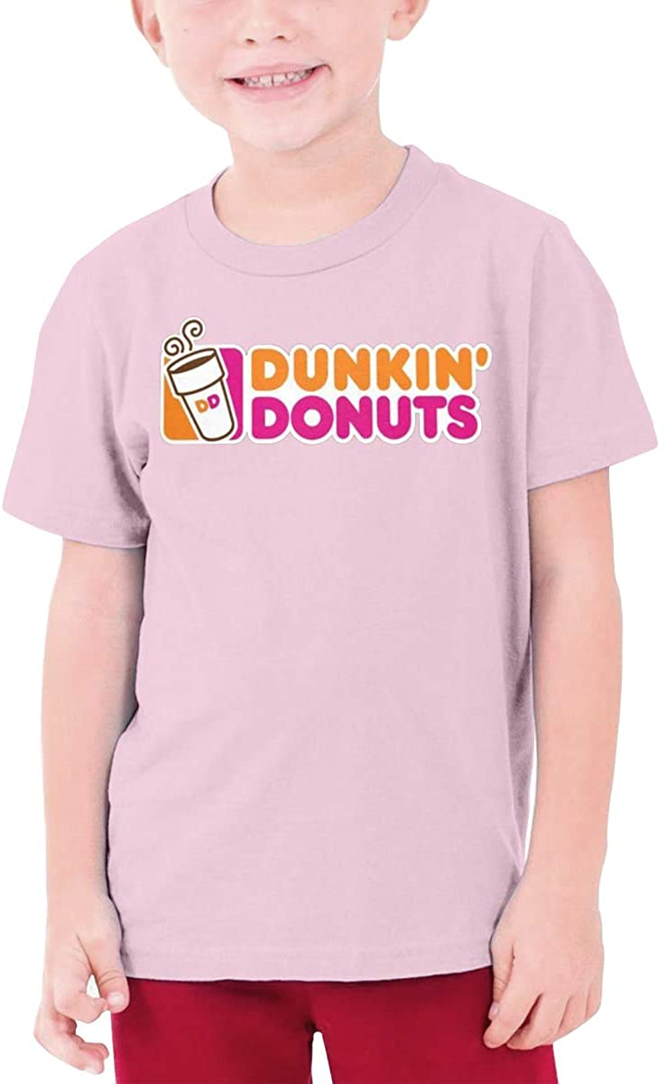 Boys and Girls Teens Short Sleeve T-Shirt Dunkin-Donuts Generous Eye-Catching Style Pink