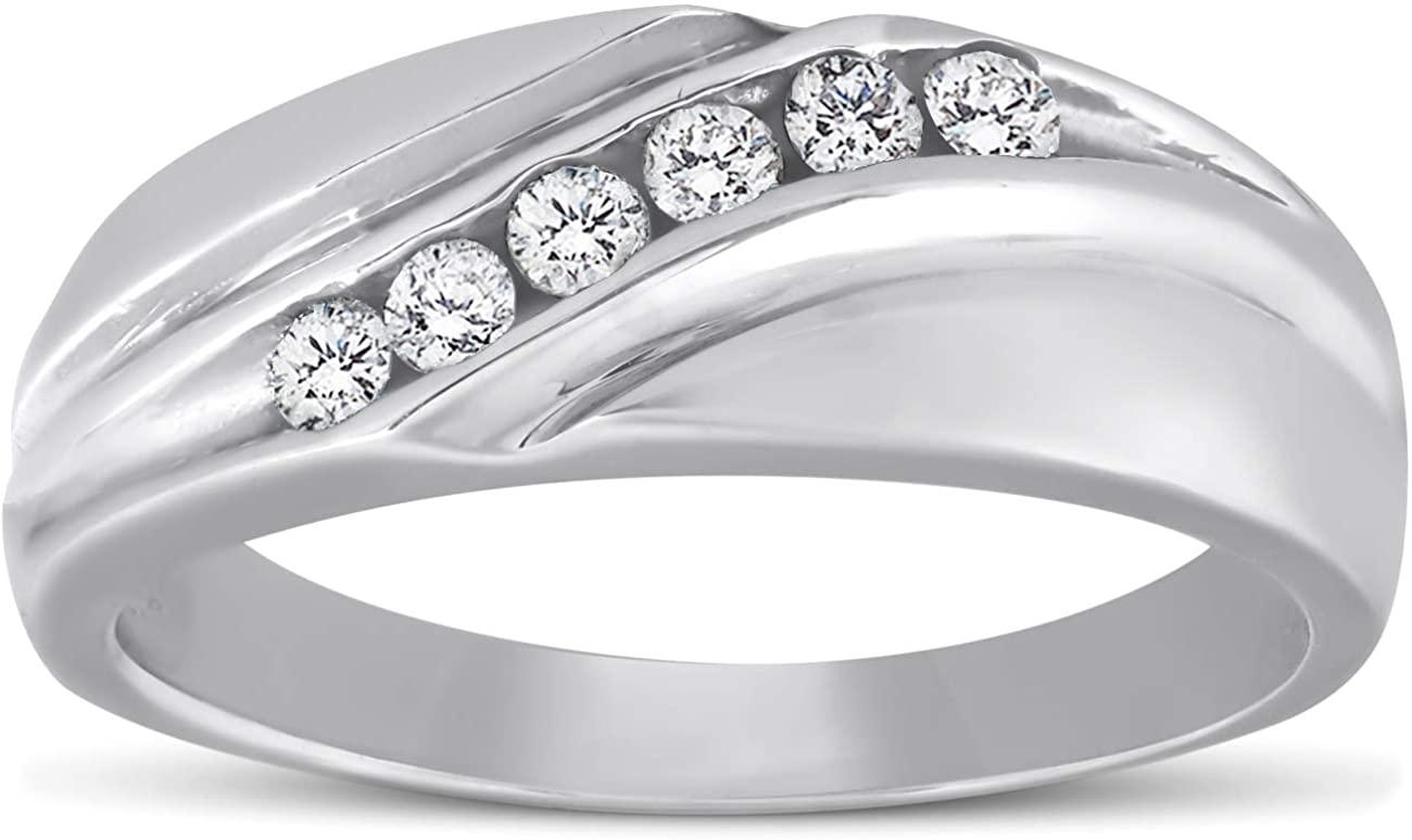 Platinum Diamond 1/4 Ct High Polished Mens Ring Wedding Band