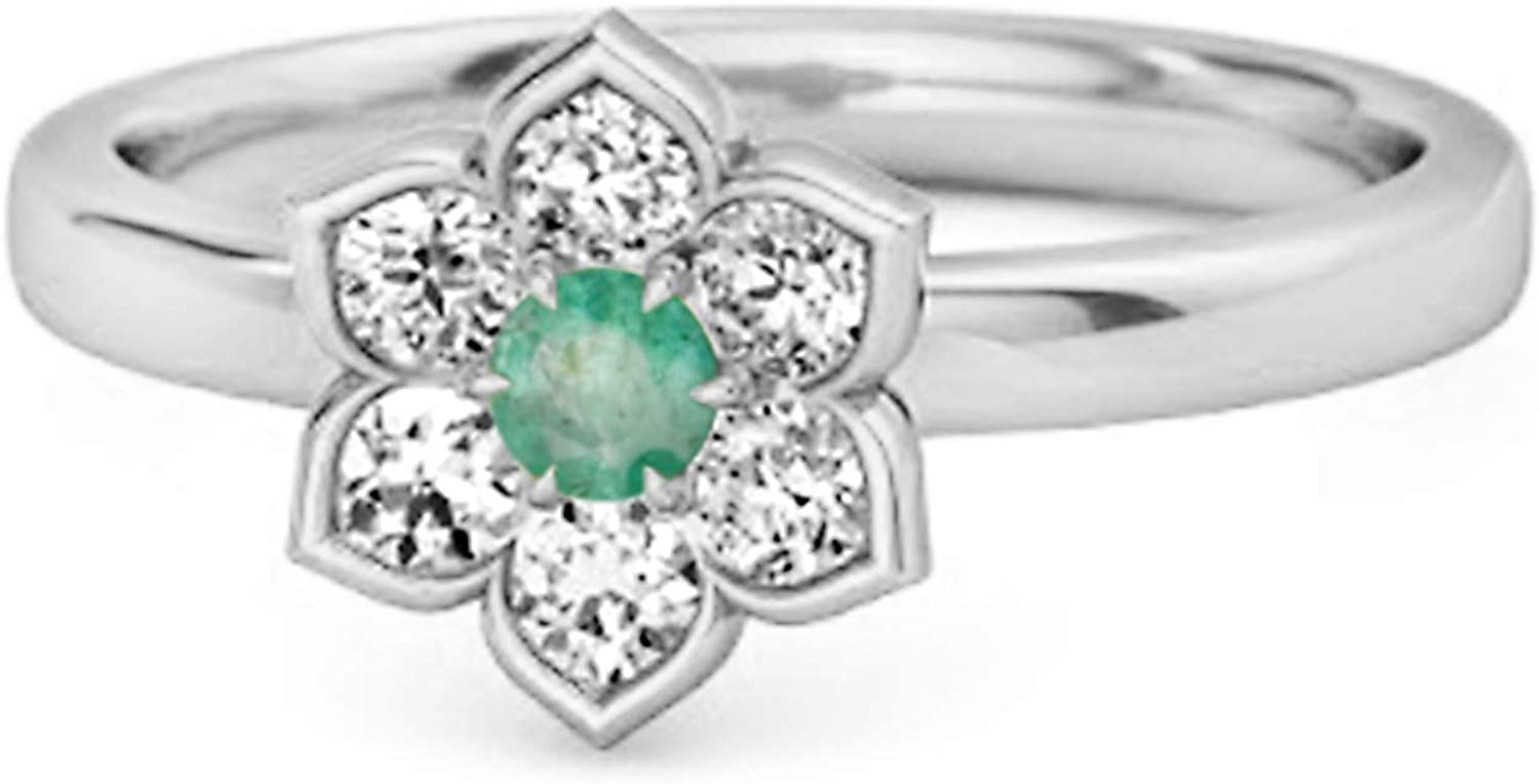 Shine Jewel Daisy Flower 0.02 Cts Emerald Gemstone 925 Sterling Silver May Birthstone Ring