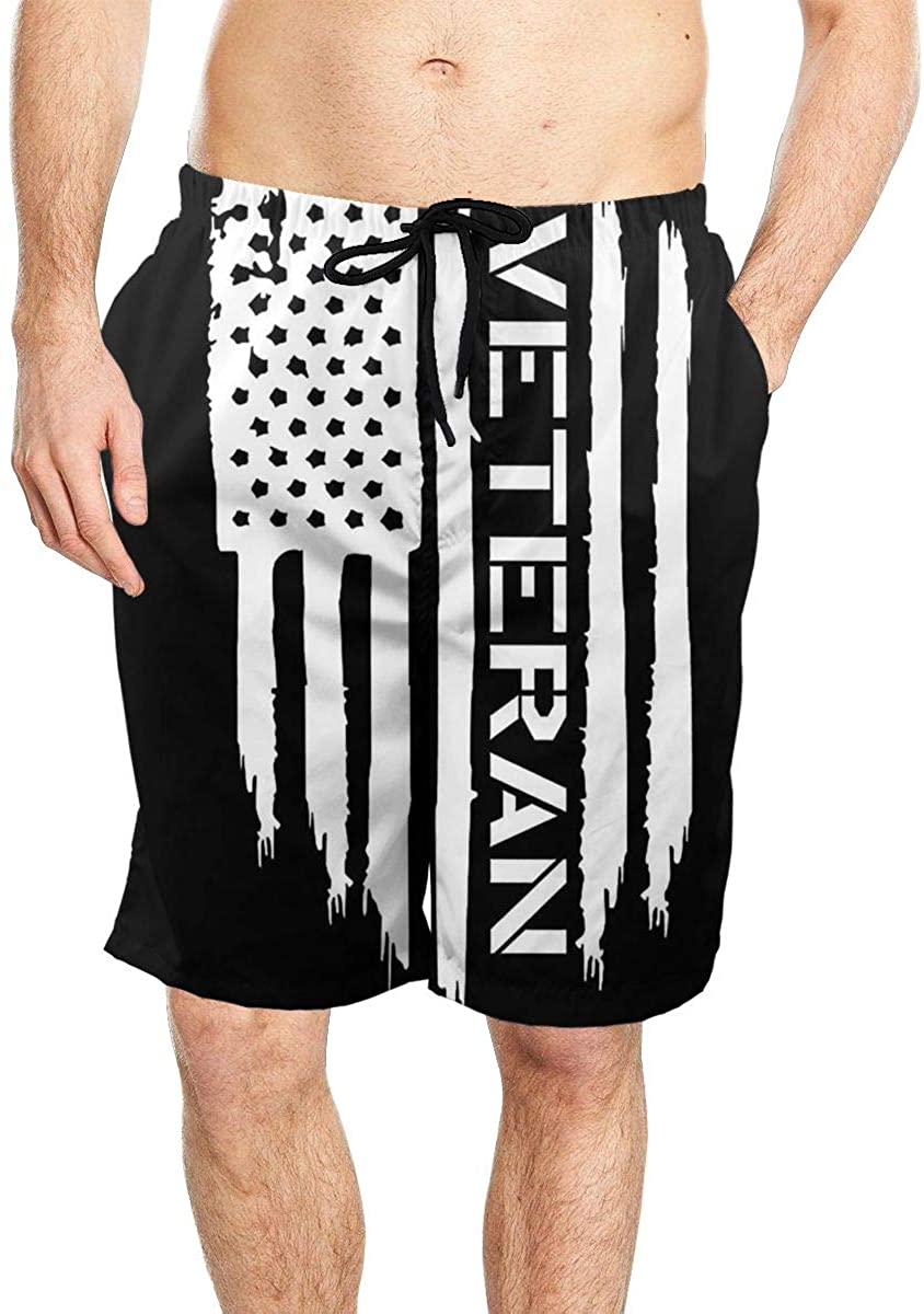 TZT Us Army Veteran Flag Cool Men's Beach Shorts Quick-Drying Swimming Shorts with Pockets