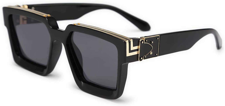 Karsaer Retro Flat Top Sunglasses Thick Square Frame Metal Buckle Hip Hop Rapper Men Women