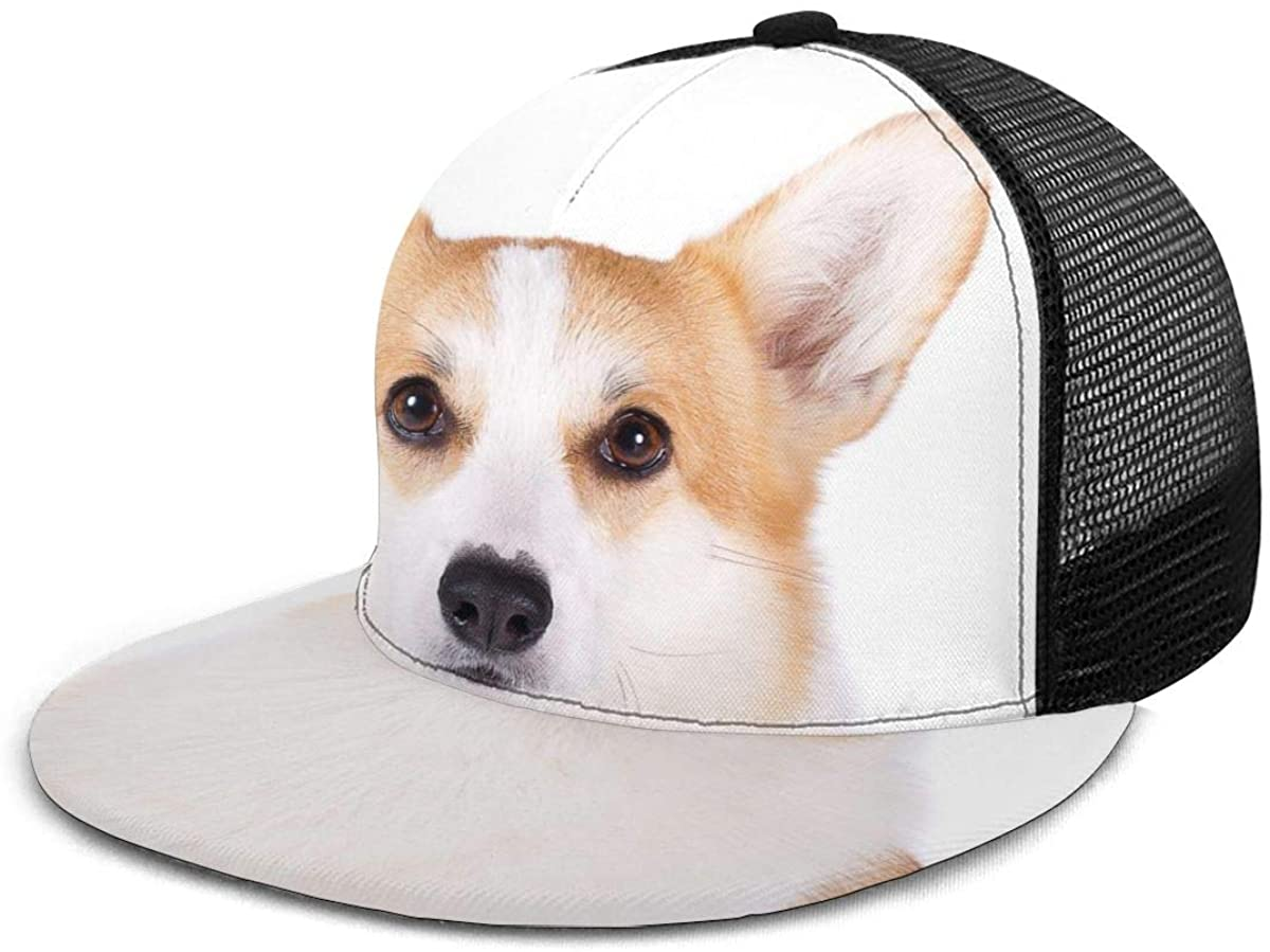 Mesh Back Trucker Hats Welsh Corgi Pembroke Dog Cute Smile Adjustable Baseball Cap Flat Brim Summer