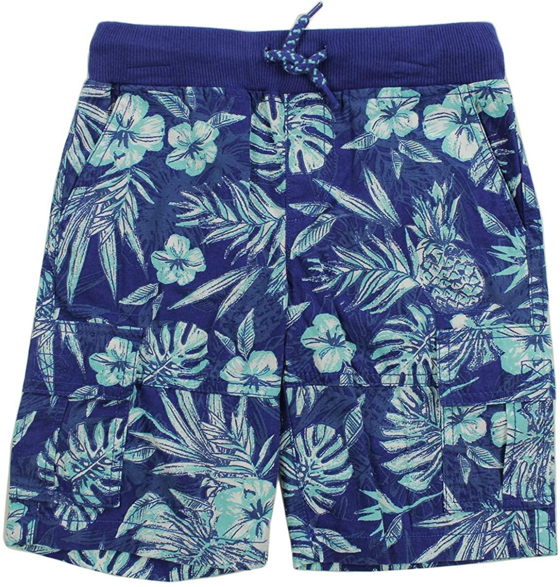 Epic Threads Toddler Boys Drawstring Tropical Print Blue Cargo Shorts 3T