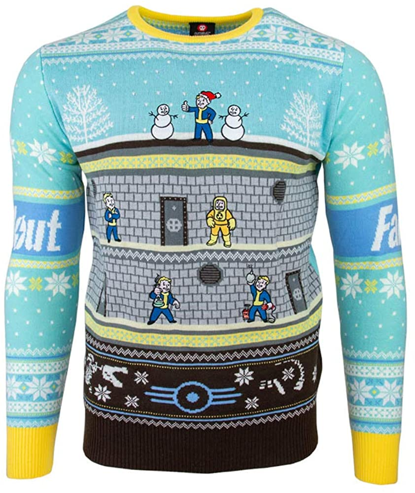 Numskull Unisex Official Fallout Vault Knitted Christmas Jumper for Men or Women - Ugly Novelty Sweater Gift