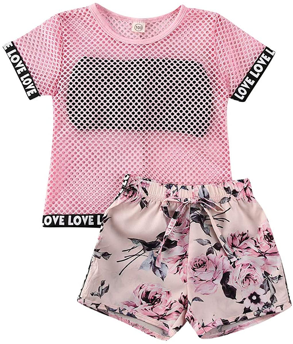 Toddler Girl Mesh Sports Suit Printed Shorts 3-Piece Set with Bodice Belt Loose Lettered Cuffs Short Sleeve