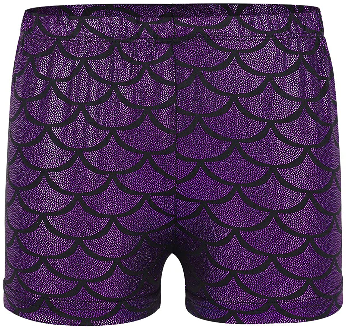 iiniim Girls' Mermaid Fish Scale Gymnastics Dance Cheer Booty Shorts Hot Pants Shiny Biketards Bottoms