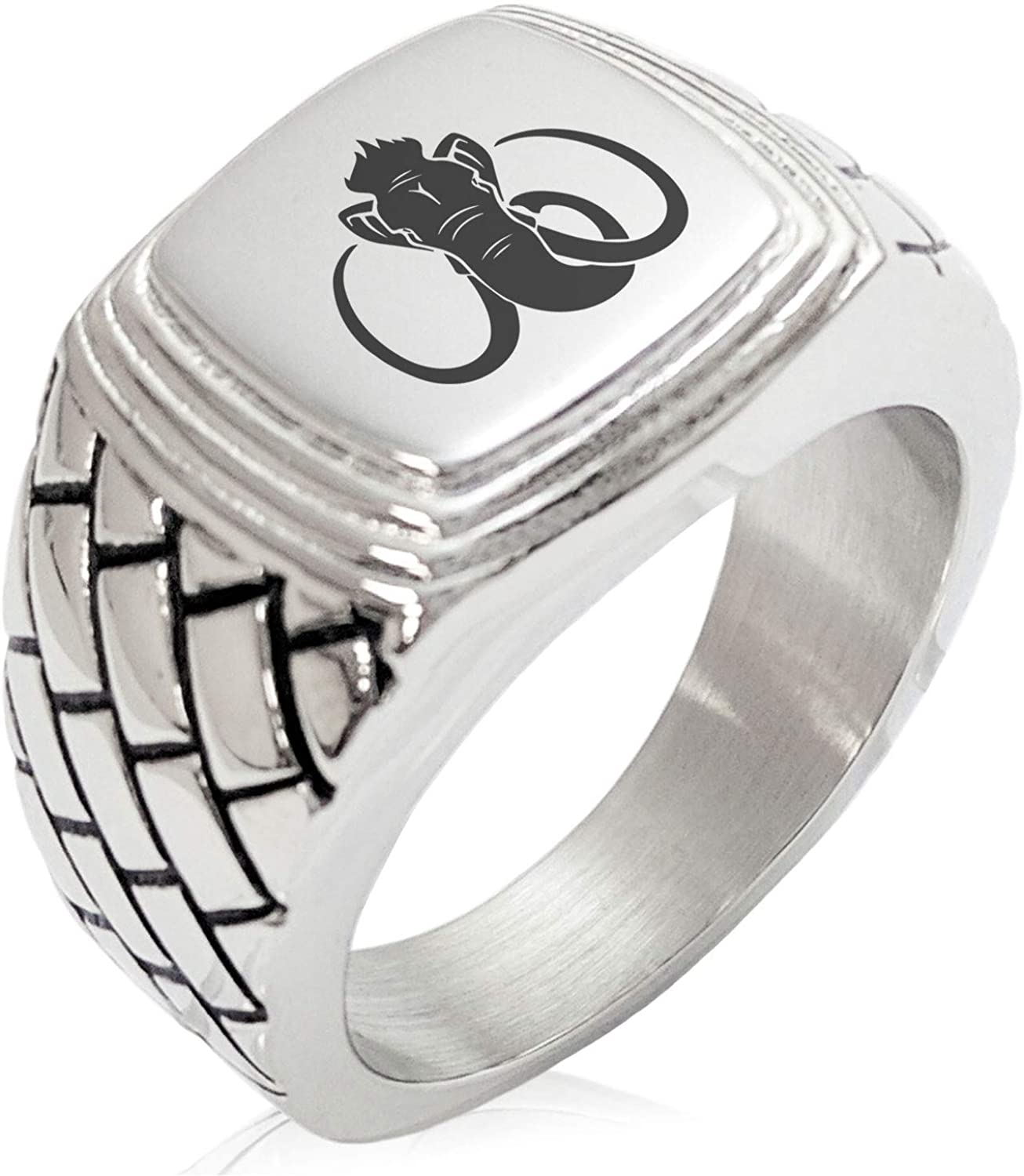 Tioneer Stainless Steel Woolly Mammoth Concentric Pattern Step-Down Biker Style Polished Ring
