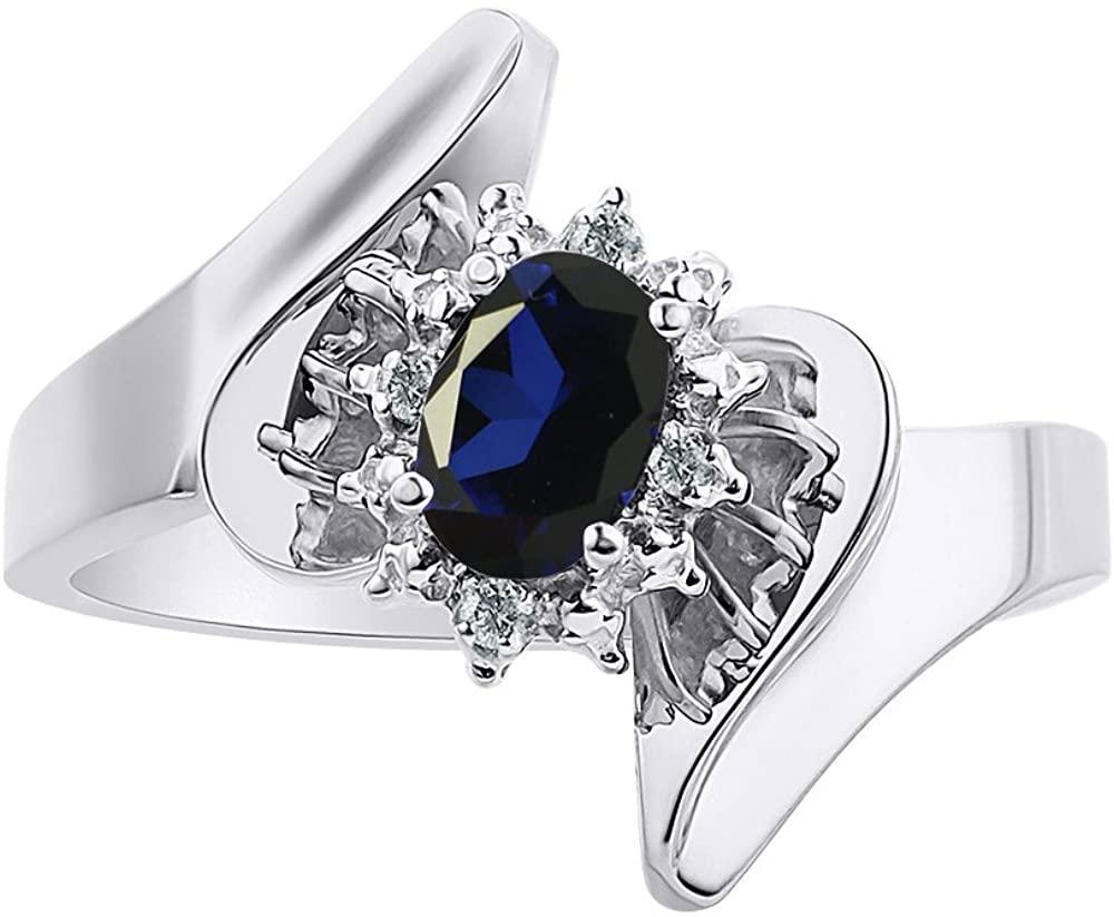 Diamond & Sapphire Ring Set In 14K White Gold - Diamond Halo - Color Stone Birthstone Ring