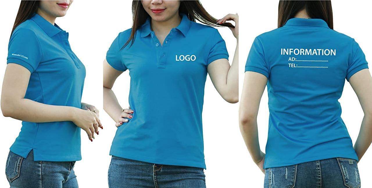 Add Custom Personalize Your Logo Text. Embroider On Polo & T-Shirt with Multi Sides – Sizes - Colors. Pack of 10 Air Blue