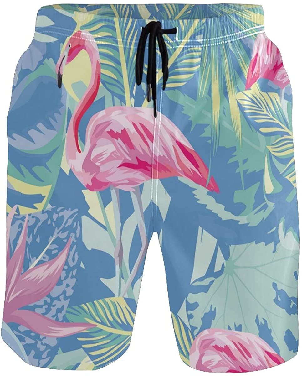 Mens Swim Trunks Quick Dry Flamingo Summer Boardshorts with Pocket Beach Shorts