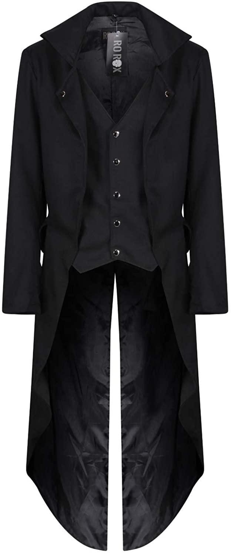 Ro Rox Men's Long Victorian Coat Gothic Tailcoat with Waistcoat