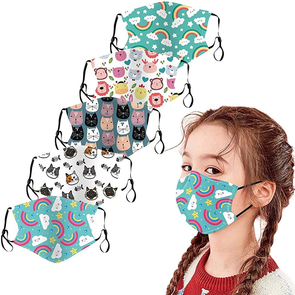 5 pcs Children Cotton Face Macks Washable Reusable Face Bandanas with Cute Cartoon Printing, Facewear for Kids Boy Girl