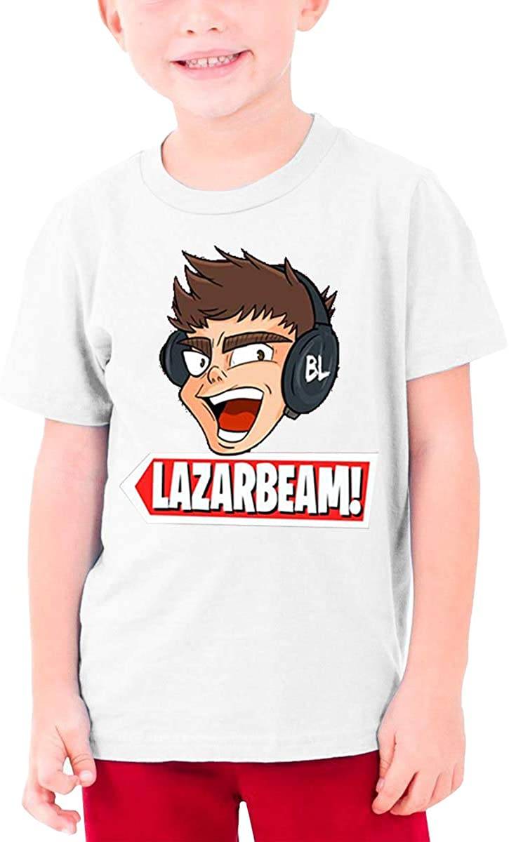 AP.Room Boys and Girls Teens Short Sleeve T-Shirt Lazarbeam Generous Eye-Catching Style White