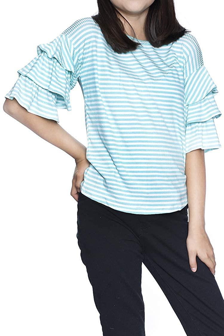 Big Girls Stripe Ruffle Sleeve Top