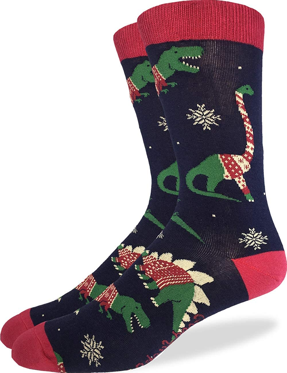 Good Luck Sock Men's Christmas Sweater Dinosaurs Socks - Blue, Shoe Size 7-12