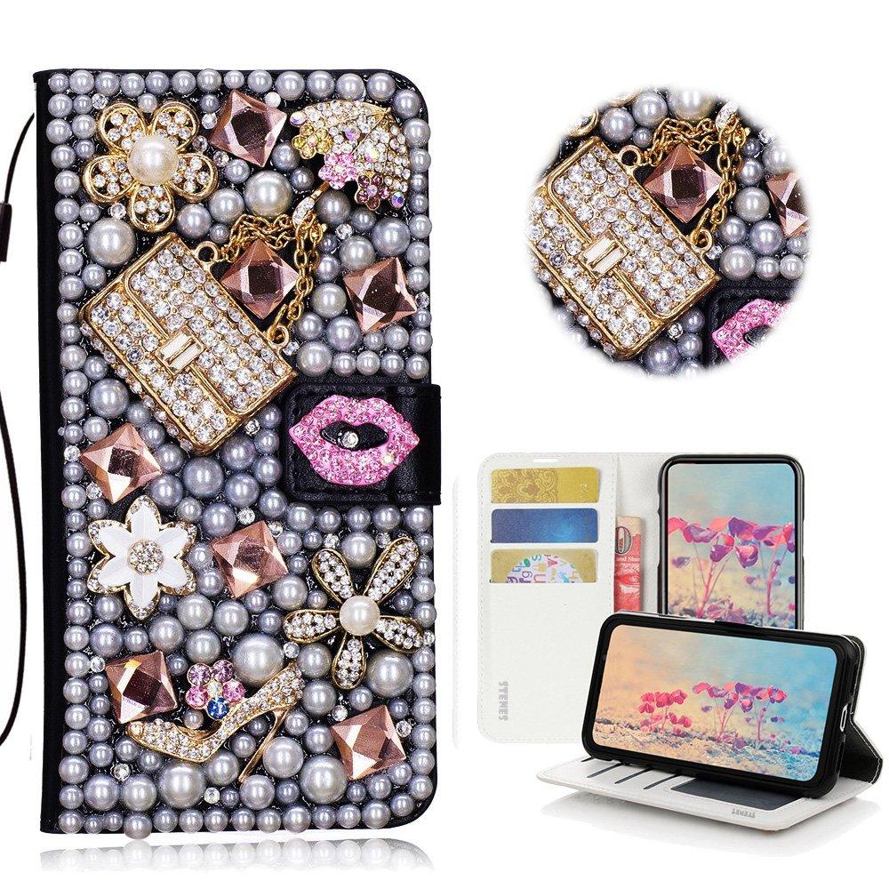 STENES Bling Wallet Case Compatible LG K40 / LG K12 Plus - STYLISH - 3D Handmade Crystal Sexy Girls Bag High Heel Lips Magnetic Wallet Leather Cover Compatible LG K40 / LG K12 Plus - Pink