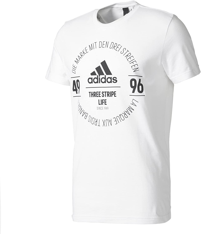 adidas Men's Tshirt Training Performance Logo Gym Tee White Running BK2802