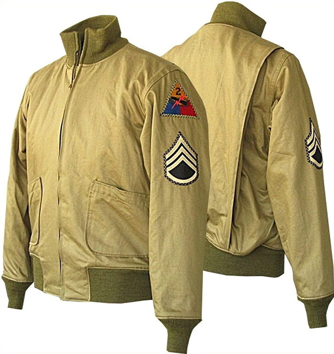 Mountain Leather Men's Brad Pitt US Army WW2 Military Cotton Khaki Jacket 2XS to 3XL