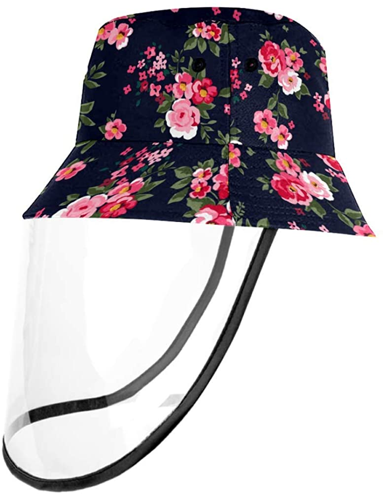 Classic Floral Blossom Roses Pattern Protective Bucket Sun Hat Unisex Caps Outdoor Hats
