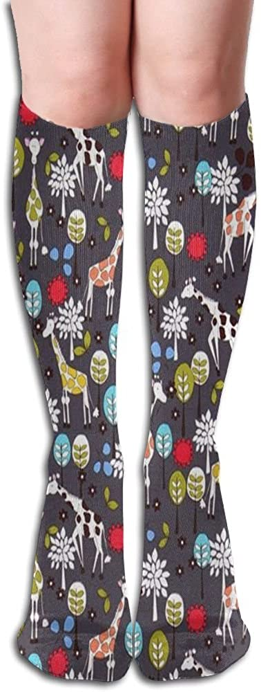 HXXUAN Giraffe With Leaves Knee High Socks Cotton Long Knee-high Stockings(50 Full Print)