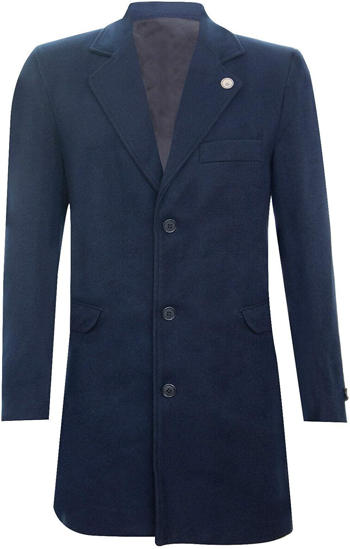 Tru Clothing Mens 3/4 Long Wool Crombie Overcoat Jacket Peaky Blinders Slim Fit Coat