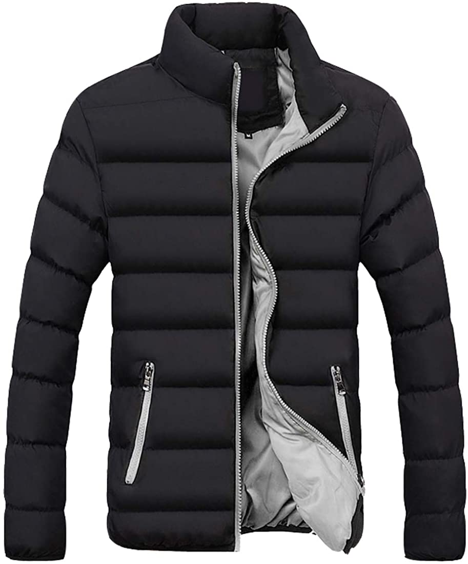 S&S-Men Warm Winter Candy Colors Contrast Lining Thicken Warm Puffer Compressible Jackets (Large, Gray)