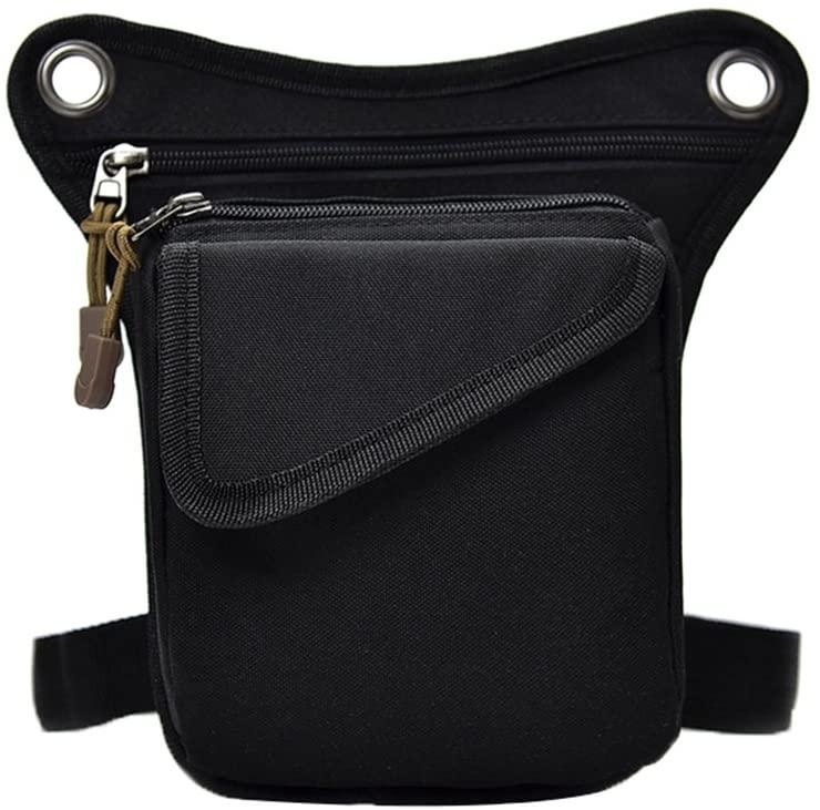Genda 2Archer Nylon Men's Multi-purpose Tactical Waist Pack Leg Cross Over Bag (Black)