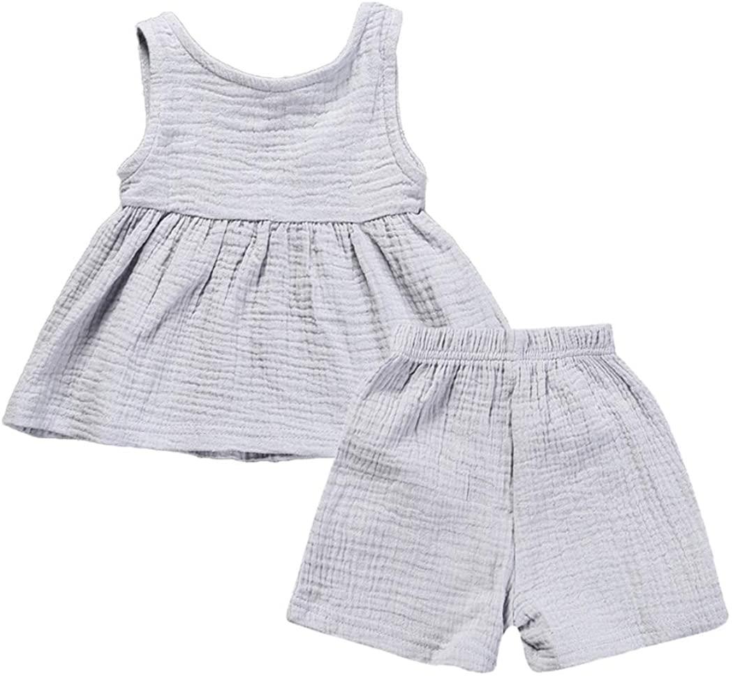 Mary ye Little Girls Cotton Linen Clothes Set Baby Summer T-Shirt Tops + Shorts