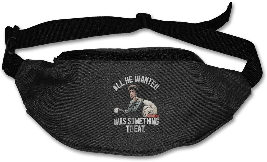 Hwxzviodfjg John J. Rambo Something to Eat Adjustable Running Belt Waist Pack Belt Fanny Pack Black