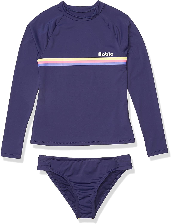 Hobie Girls Big Long Sleeve Rashguard and Side Shirred Bottom Swimsuit Set